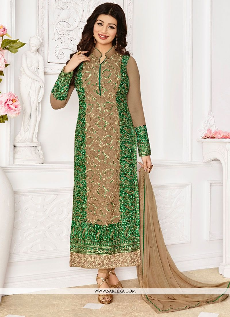 7234107886 Buy Georgette Beige and Green Embroidered Work Designer Straight Suit Online  : Malaysia -