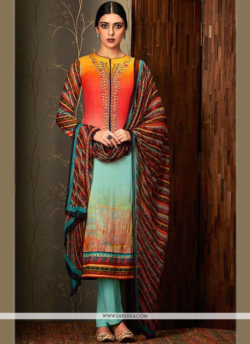 Multi Colour Digital Print Work Cotton   Pant Style Suit