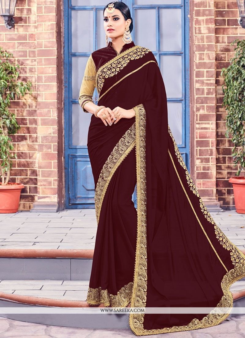 Fancy Fabric Embroidered Work Classic Saree