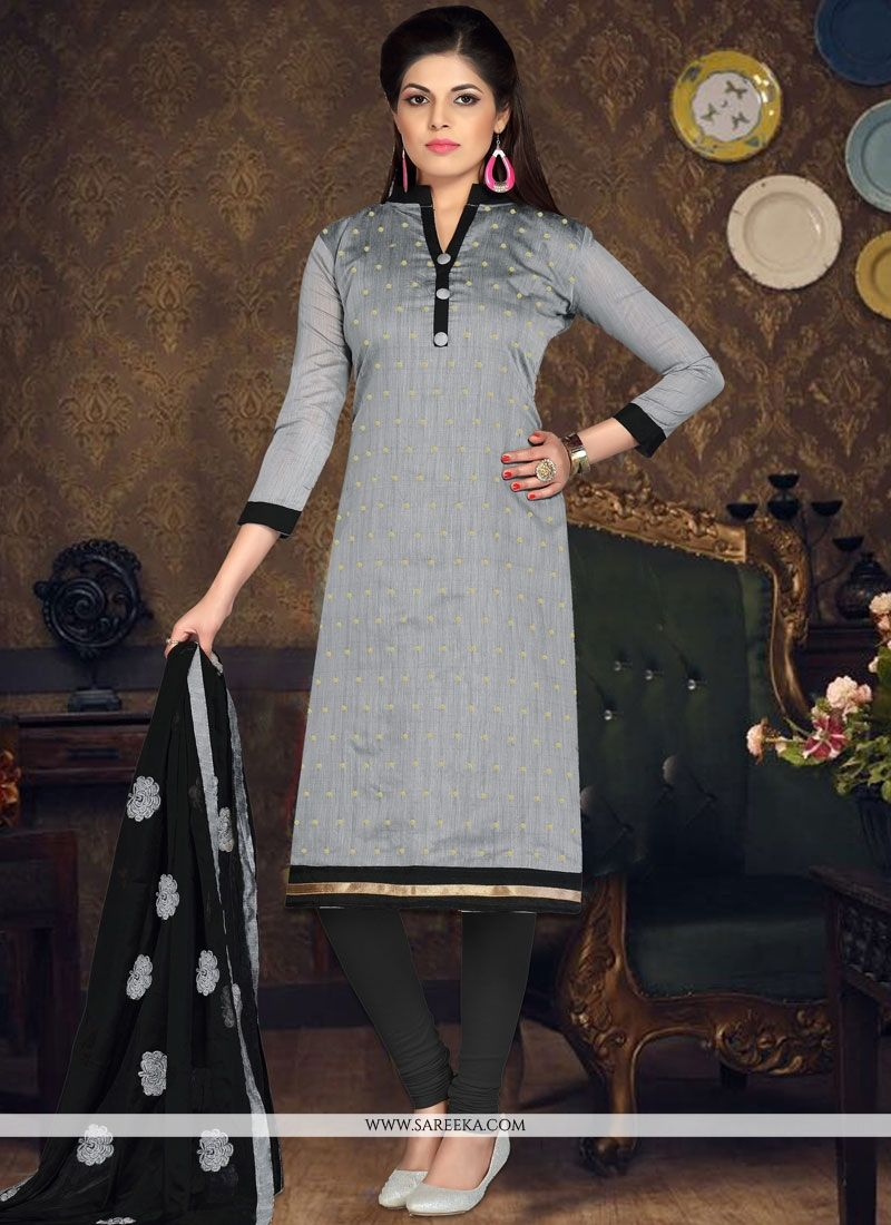 Grey Embroidered Work Churidar Suit