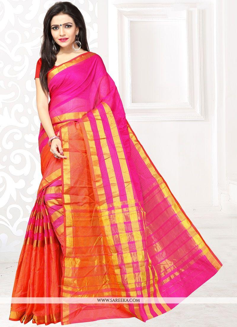 Manipuri Silk Orange and Pink Traditional  Saree