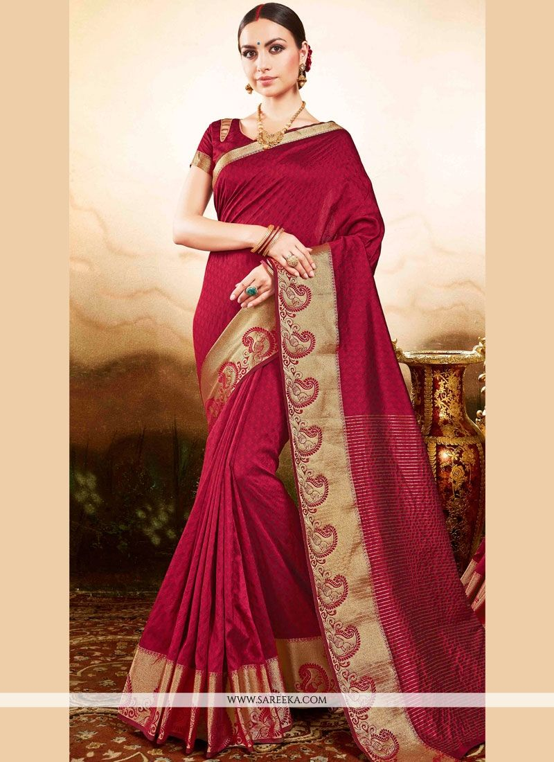 Art Silk Maroon Traditional  Saree