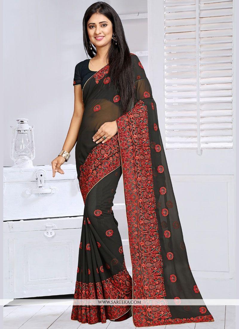 Black Resham Work Classic Saree