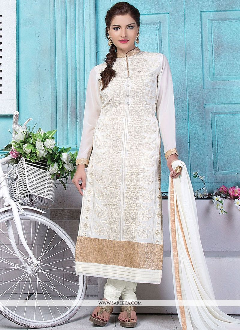 Buy White Embroidered Work Designer Straight Suit Online : Italy -
