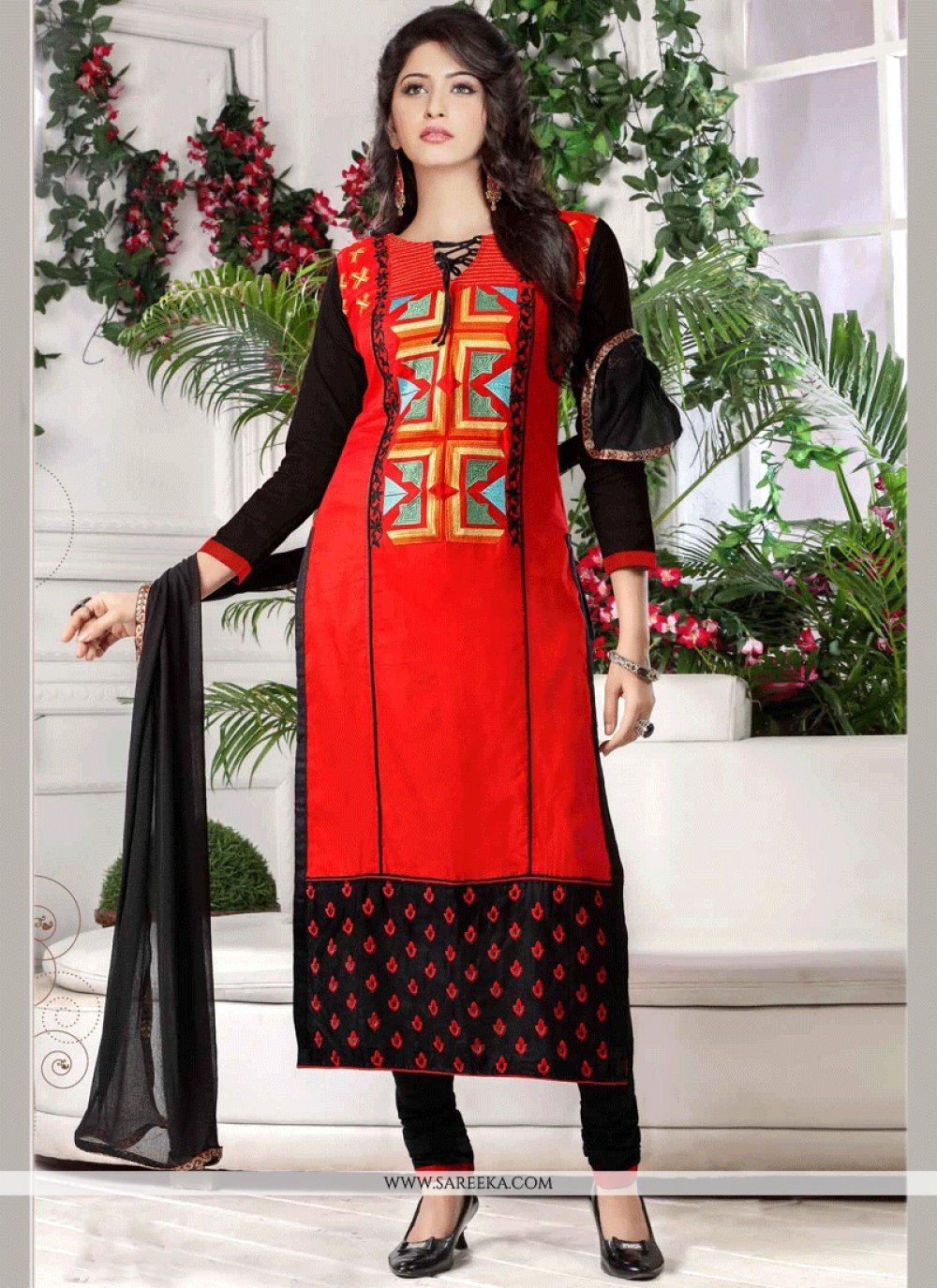 Cotton   Black and Red Embroidered Work Churidar Suit