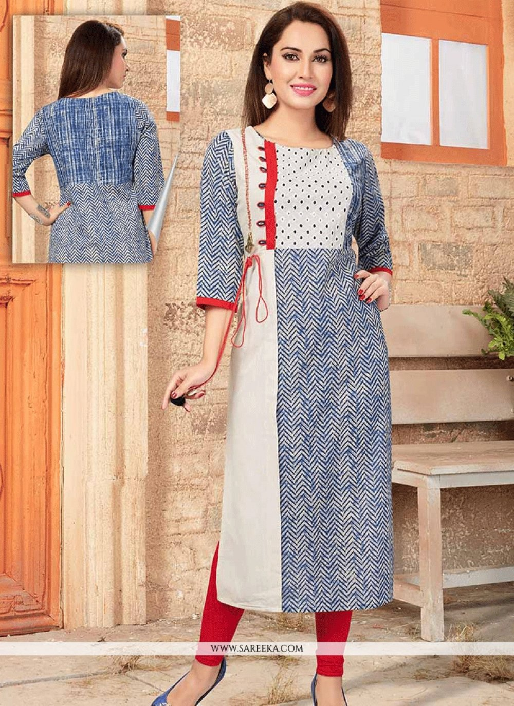 Cotton   Blue and Off White Party Wear Kurti