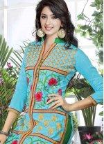 Cotton   Blue Resham Work Churidar Suit