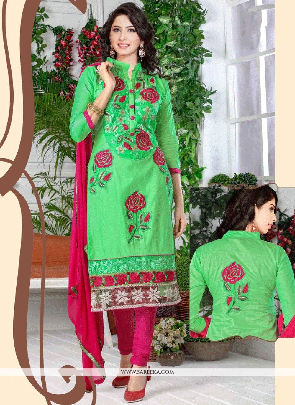 Cotton   Green Resham Work Churidar Suit