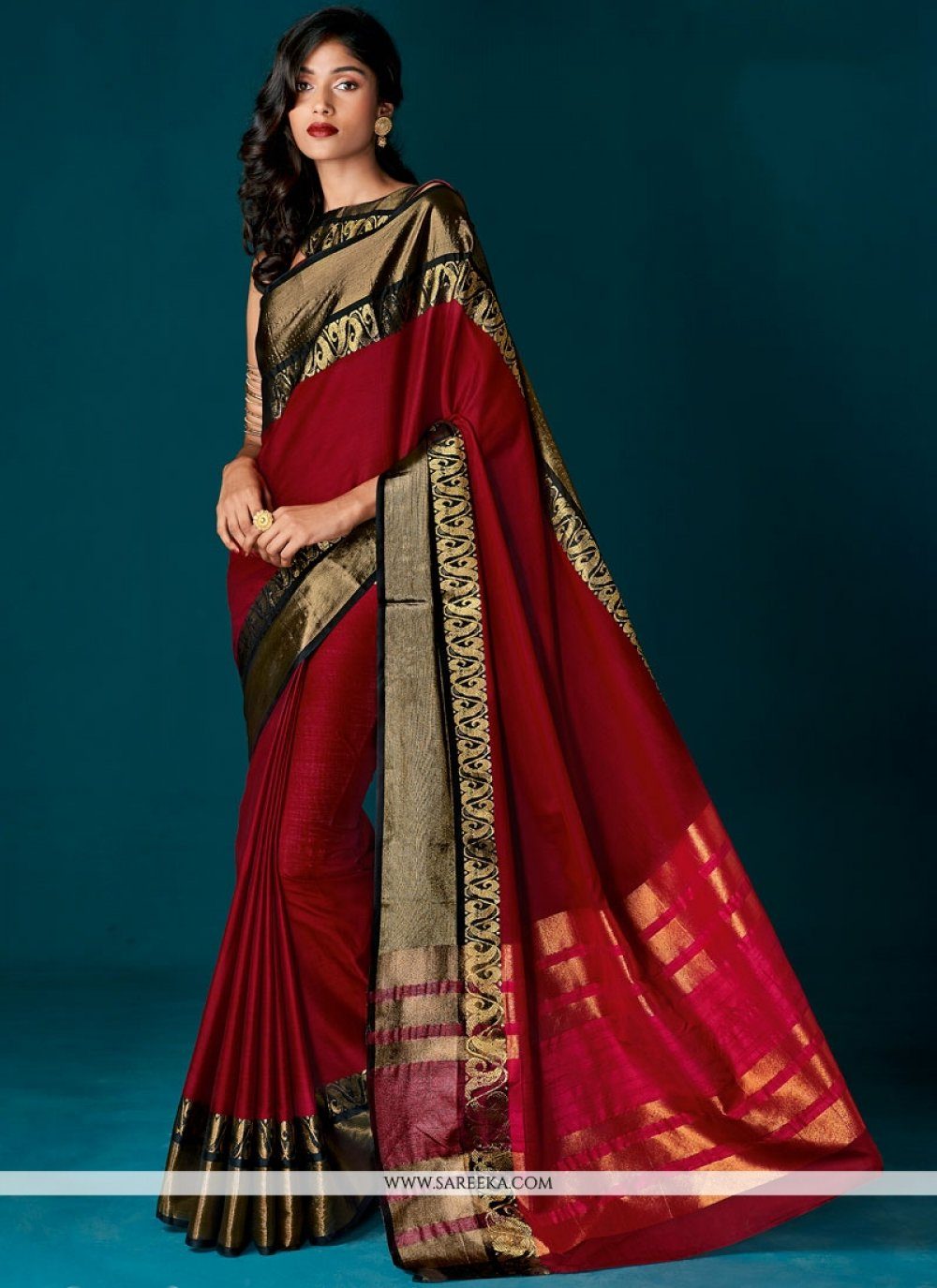 Cotton   Maroon woven Work Designer Saree