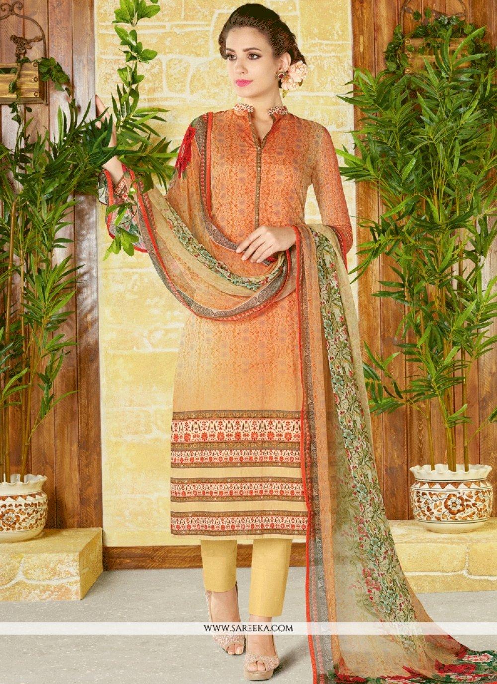 Cotton   Multi Colour Print Work Churidar Designer Suit