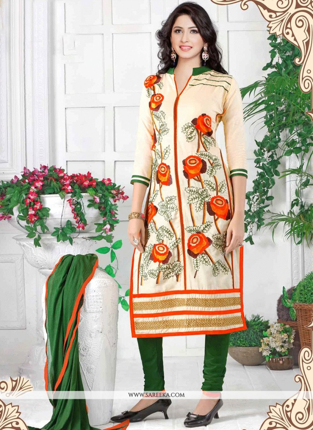 Cotton   Resham Work Churidar Suit
