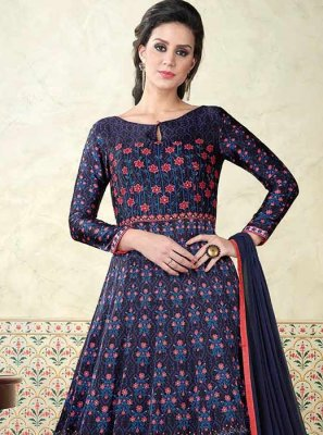 Cotton Satin Floor Length Anarkali Suit