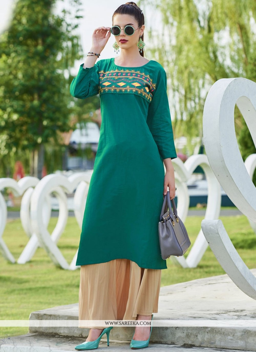 Cotton   Sea Green Embroidered Work Party Wear Kurti