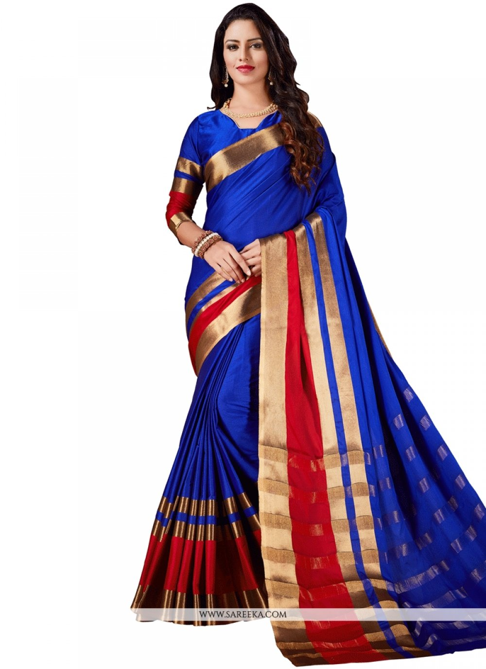 Cotton Silk Blue Casual Saree