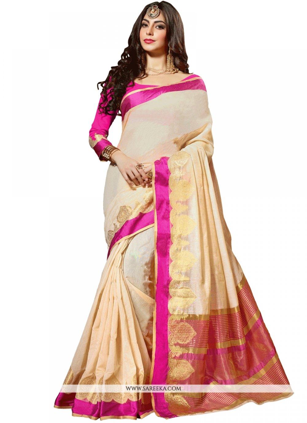 Cotton Silk Cream Weaving Work Traditional  Saree