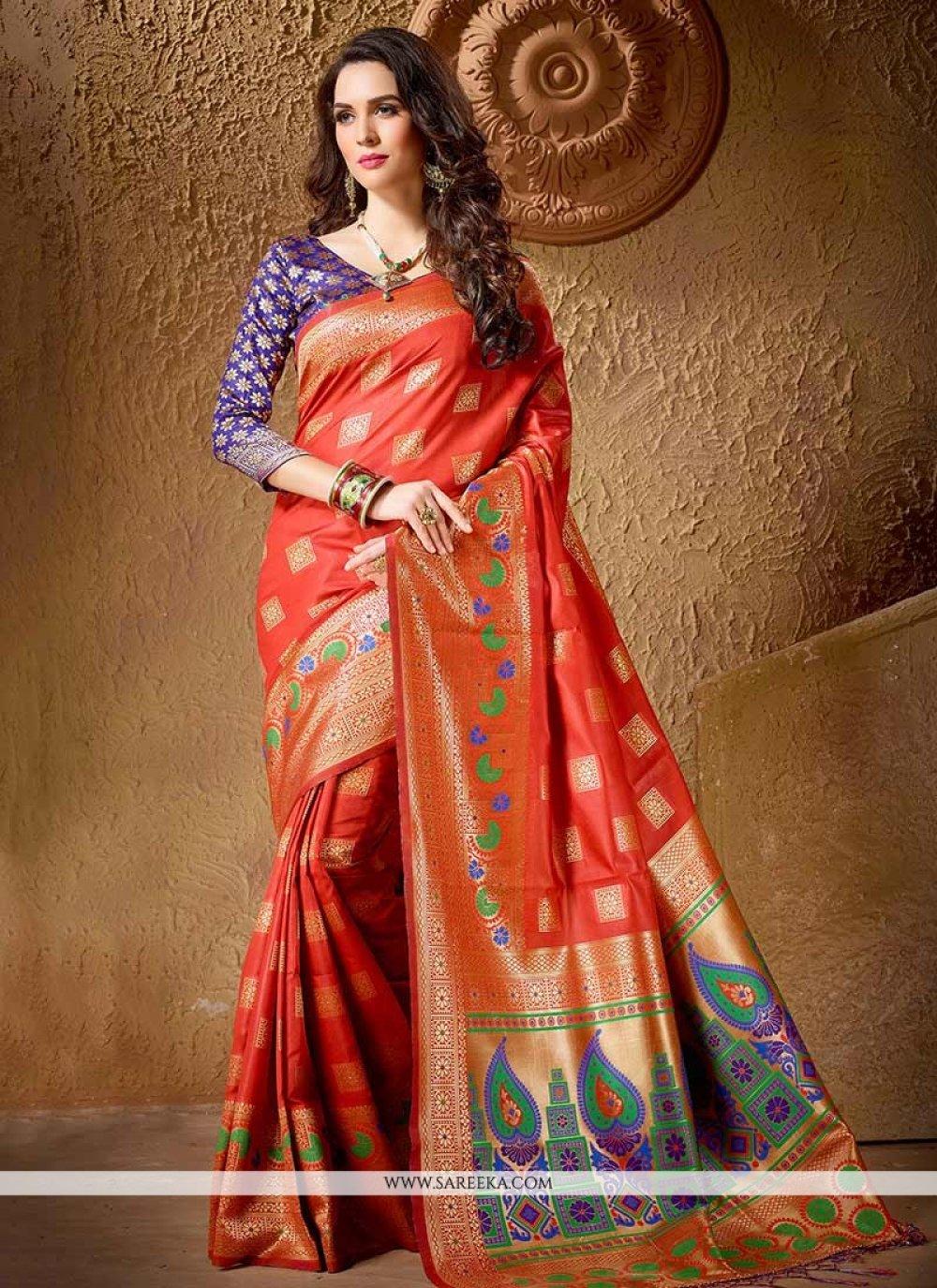 Cotton Silk Orange Designer Traditional Saree