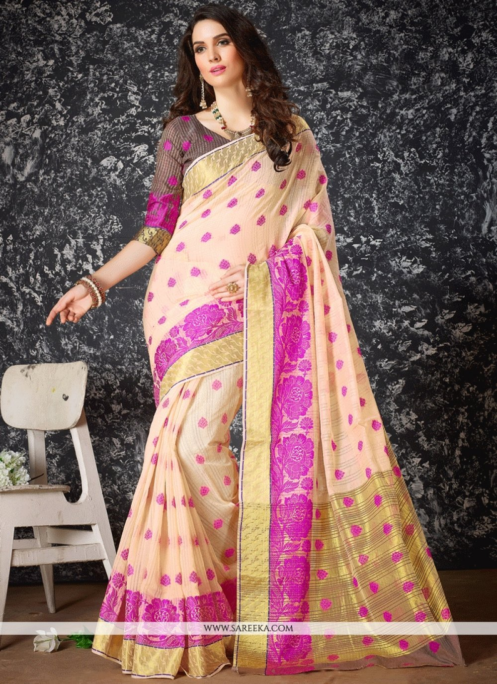 Cotton Silk Peach Traditional  Saree