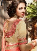 Cream and Orange Embroidered Work Net Designer Half N Half Saree