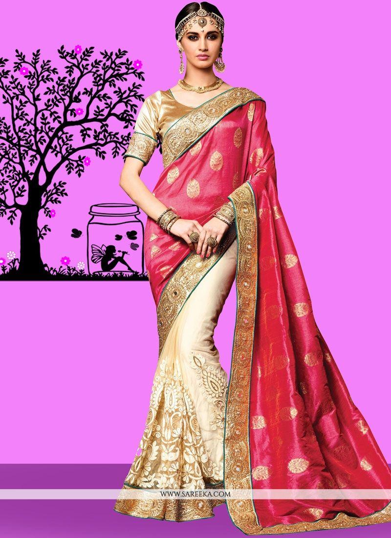 6024f4353 Shop Cream and Pink Patch Border Work Jacquard Silk Designer Half N Half  Saree Online   67355 -