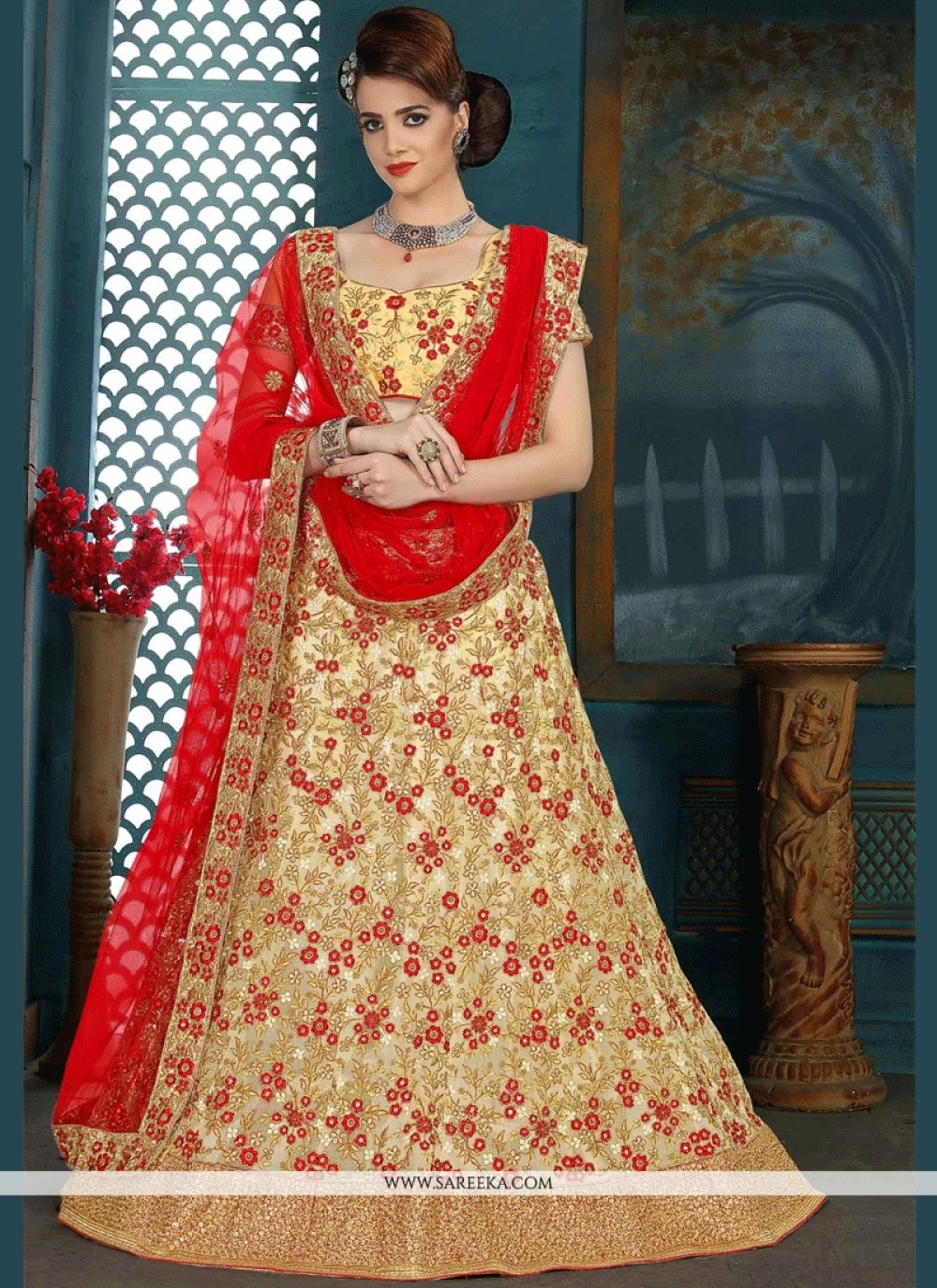 Cream and Red Embroidered Work Lehenga Choli