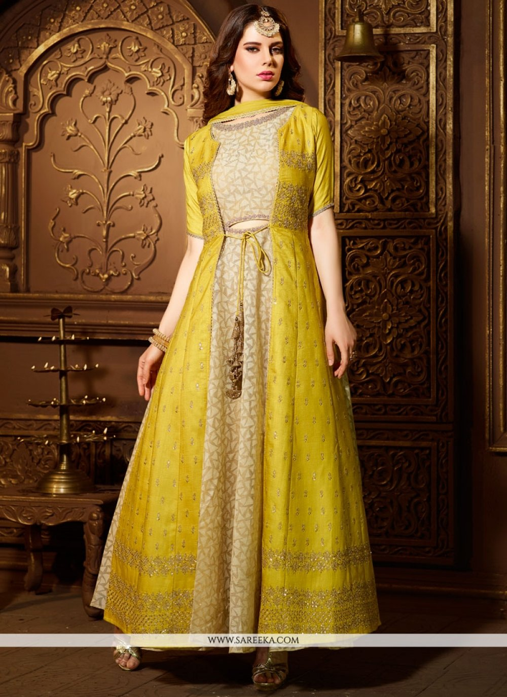 Cream and Yellow Stone Work Readymade Suit