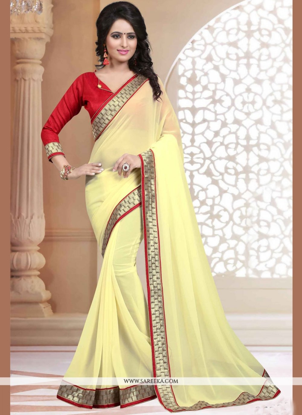 Cream Patch Border Work Faux Georgette Casual Saree