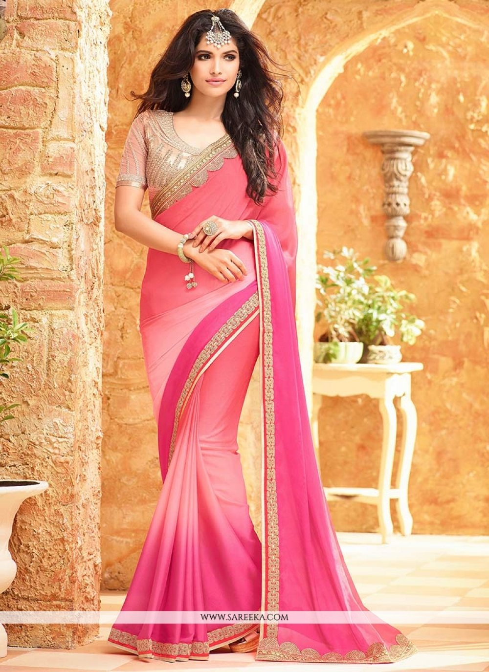 Faux Georgette Hot Pink and Pink Shaded Saree
