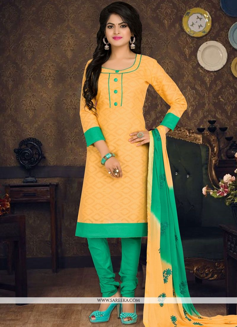 Yellow Embroidered Work Cotton   Churidar Suit