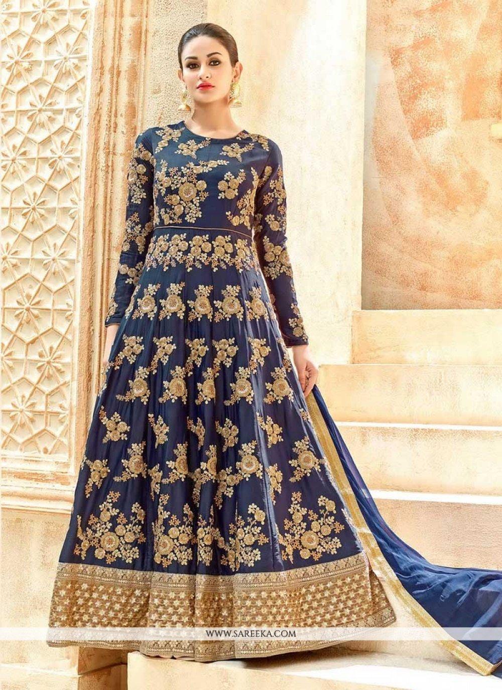 Art Silk Lace Work Floor Length Anarkali Suit