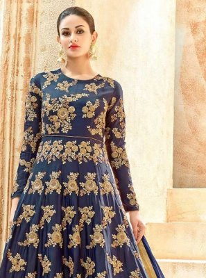 Art Silk Lace Work Floor Length Anarkali Suit