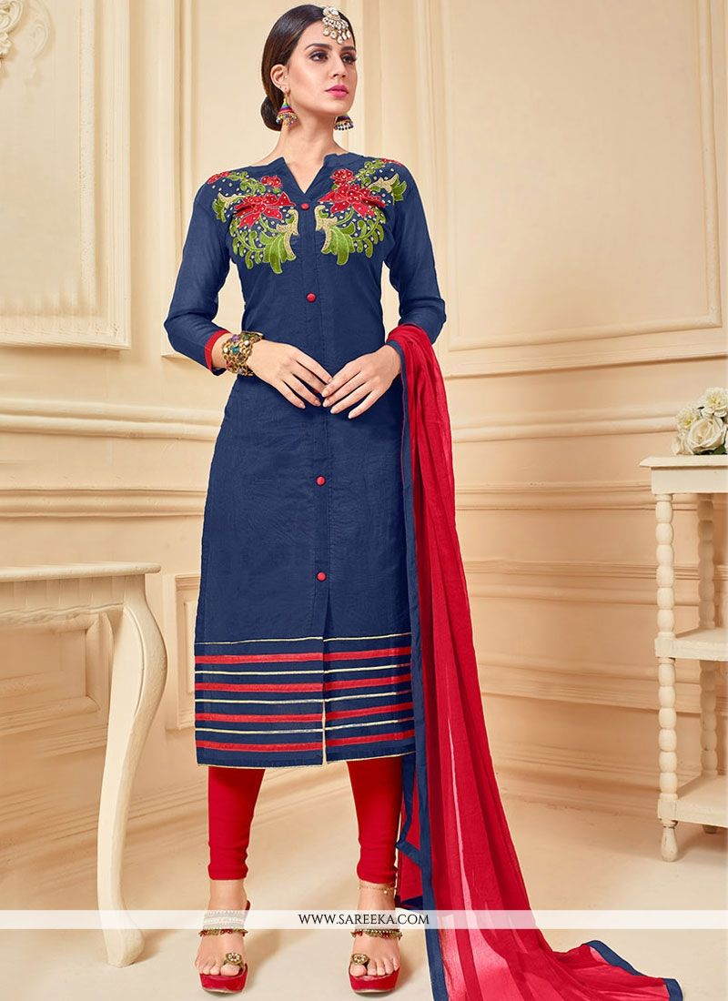 Chanderi Cotton Lavender and Navy Blue Lace Work Churidar Suit