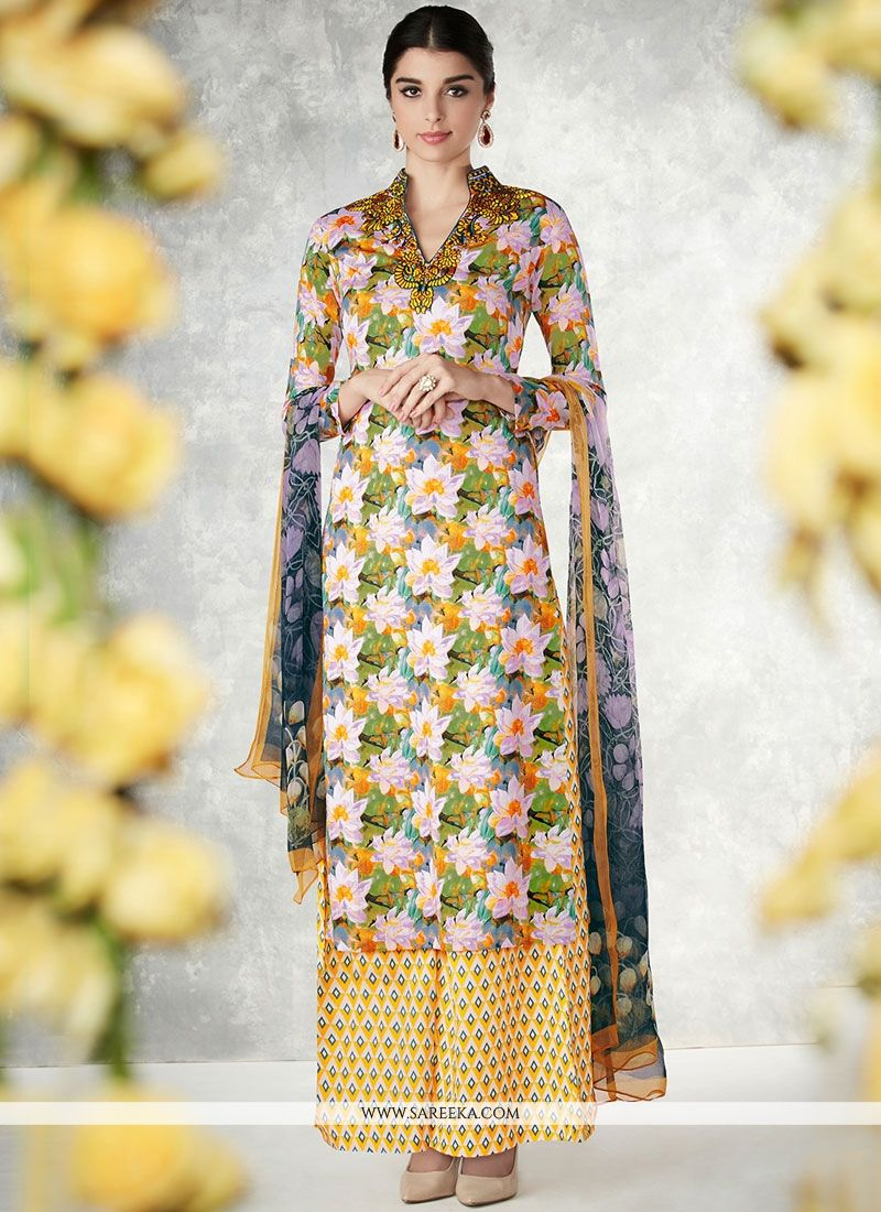 7e8706ee78 Buy Embroidered Work Multi Colour Cotton Palazzo Designer Salwar Suit  Online : South Africa -