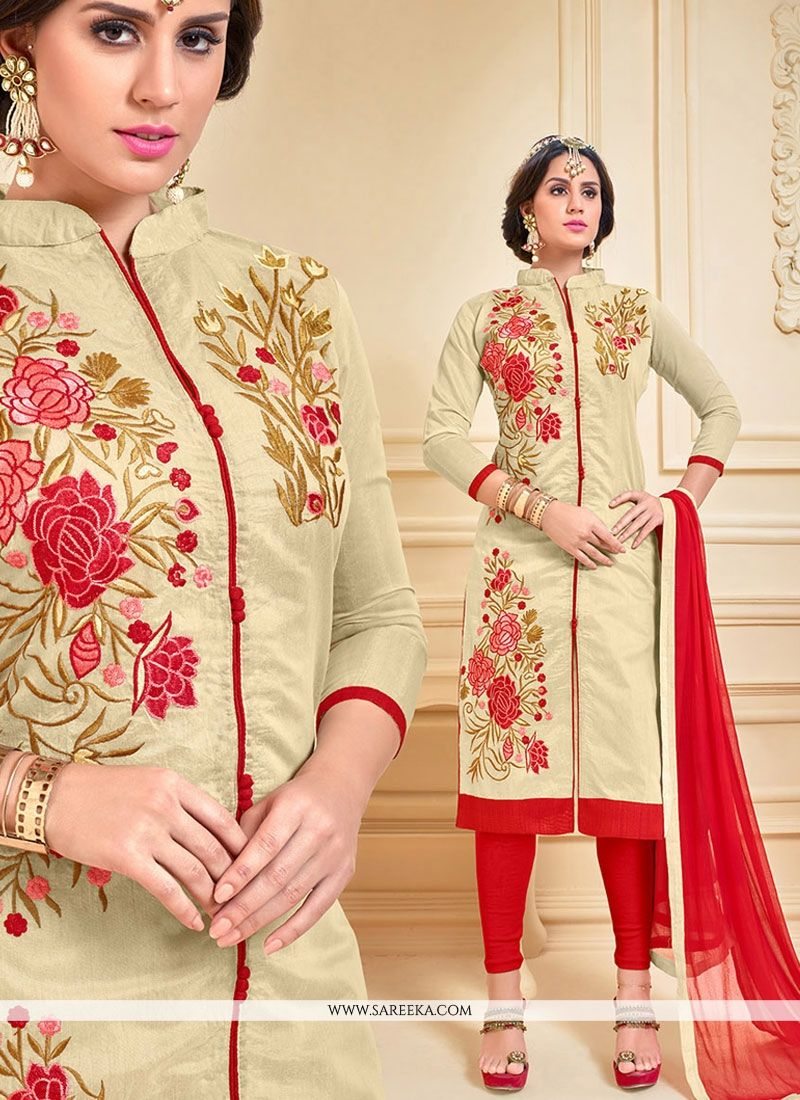 Chanderi Cotton Churidar Suit