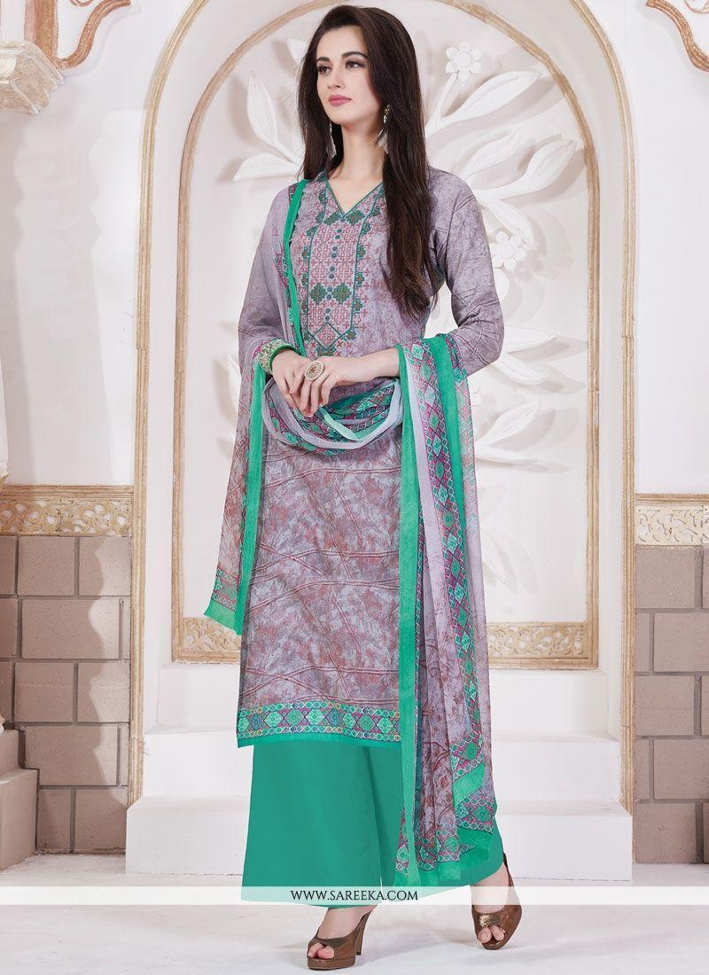 Print Work Multi Colour Cotton   Designer Palazzo Suit