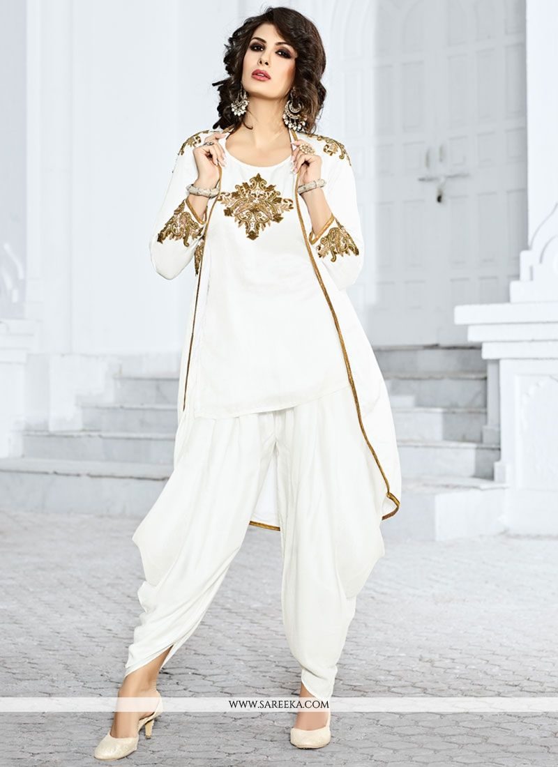 Buy Dazzling White Jacket Style Salwar Suit Online : Mauritius
