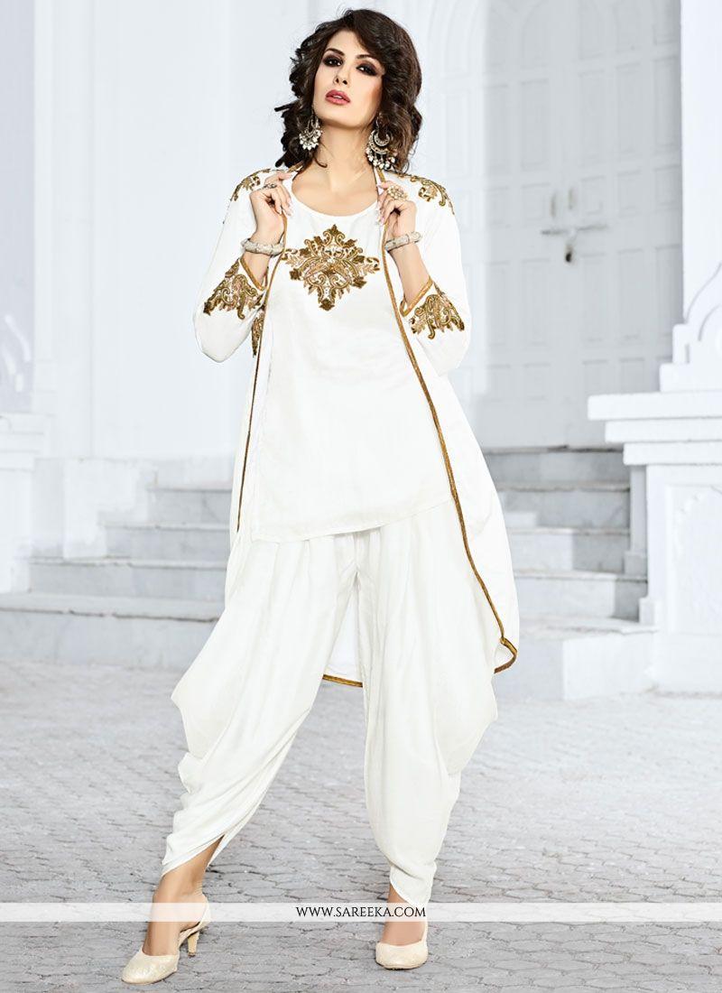 edac7c7f982 Buy White Jacket Style Salwar Suit Online   Mauritius -