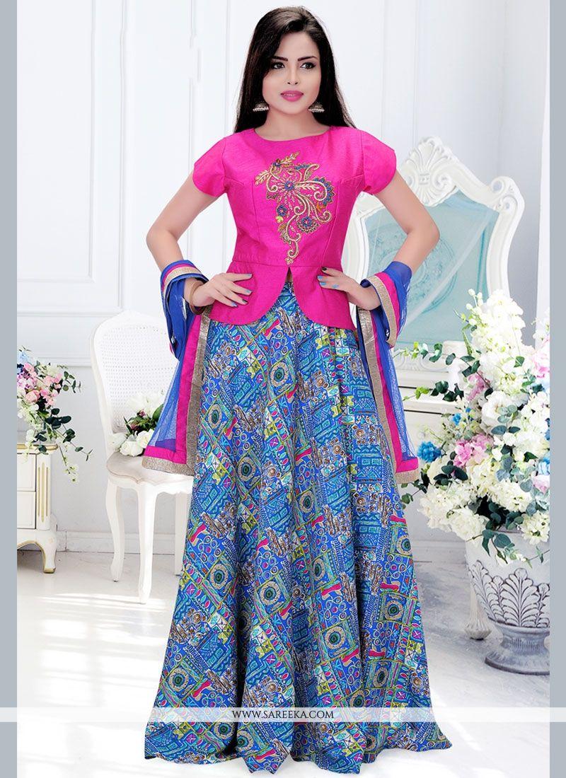 6a39109ba8f742 Buy Art Silk Blue and Hot Pink Lehenga Choli Online : France -
