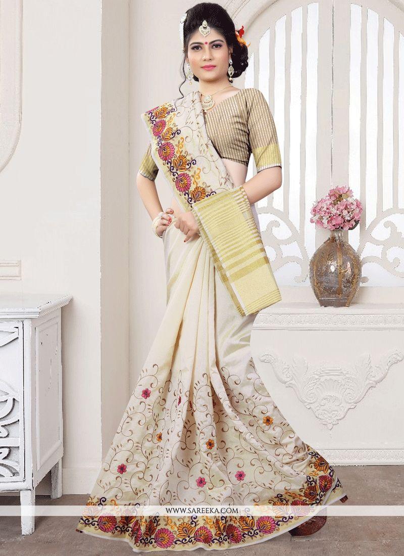 fe3e7764121e4 Buy Art Silk Off White Weaving Work Traditional Saree Online   UAE -
