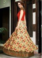Satin Beige and Orange Digital Print Work Floor Length Anarkali Suit
