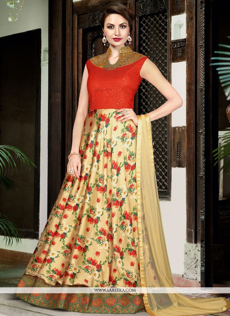 Satin Beige and Orange Digital Print Work Floor Length Anarkali Suit