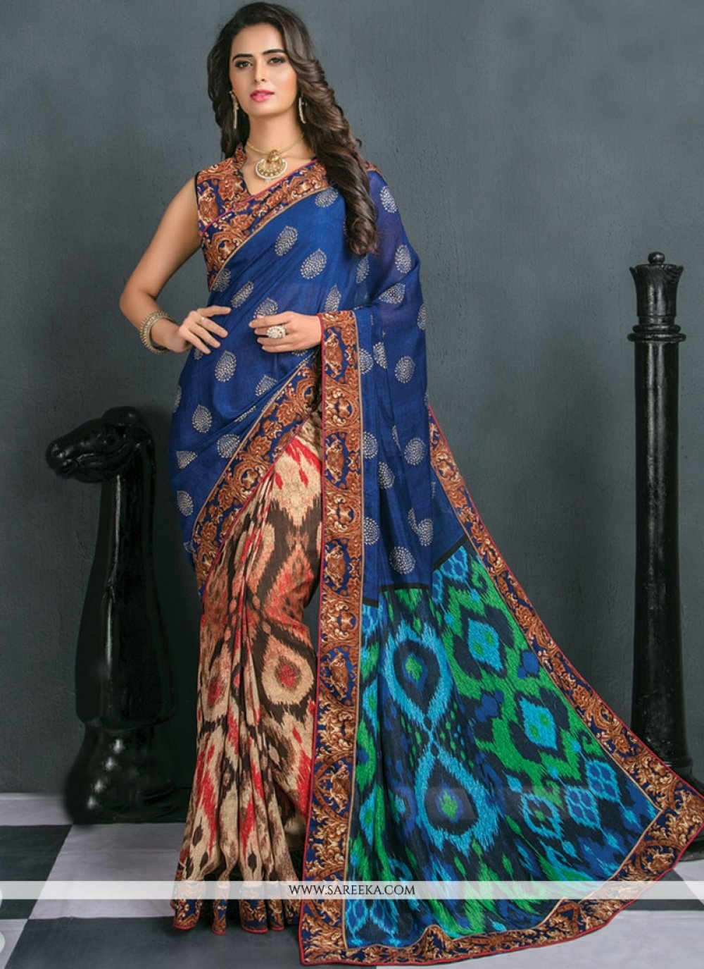 Art Silk Multi Colour Patch Border Work Traditional  Saree