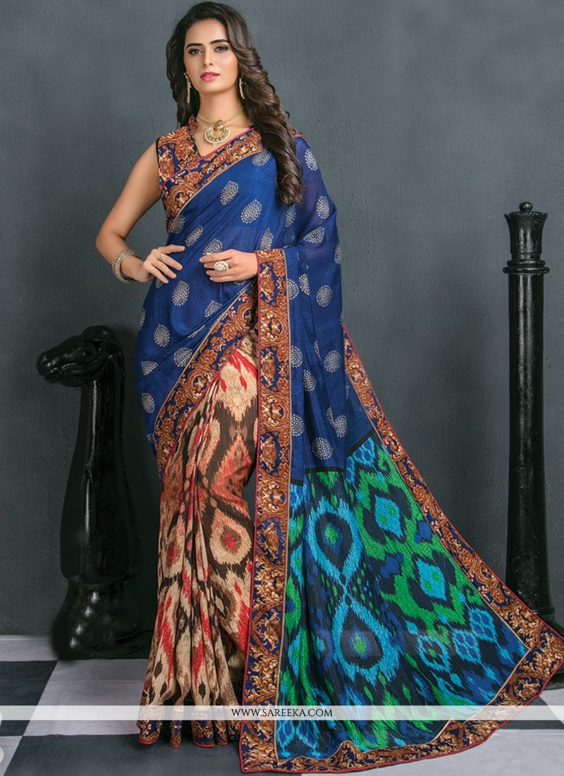 Art Silk Multi Colour Patch Border Work Traditional  Saree