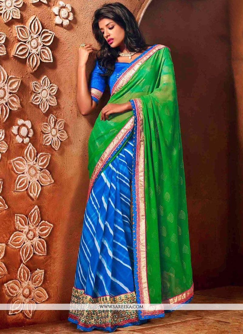 Faux Chiffon Blue and Green Classic Saree