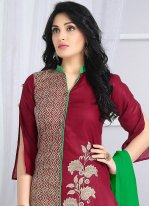 Green and Magenta Embroidered Work Cotton   Churidar Suit