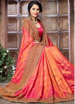 Orange and Pink Embroidered Work Crepe Silk Shaded Saree