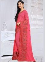 Pink Embroidered Work Designer Saree