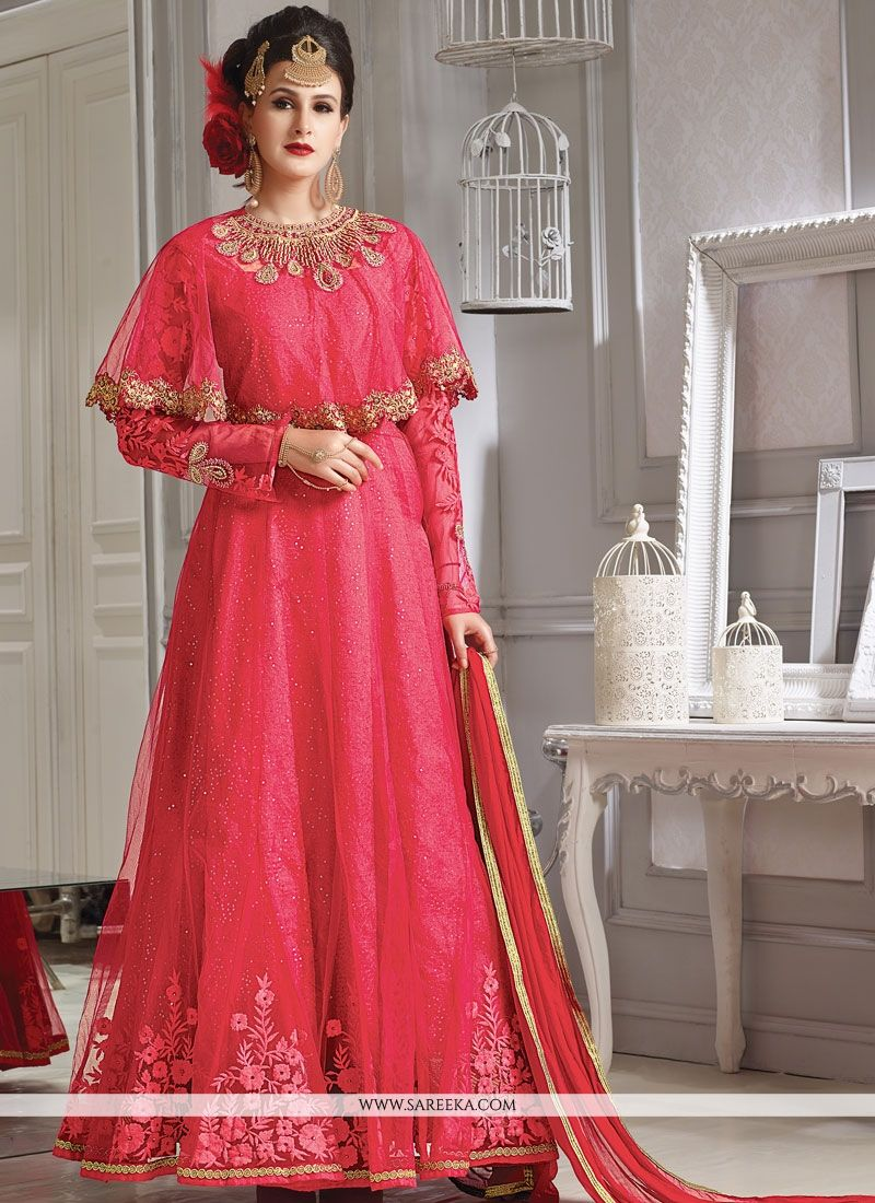 Lace Work Designer Floor Length Suit