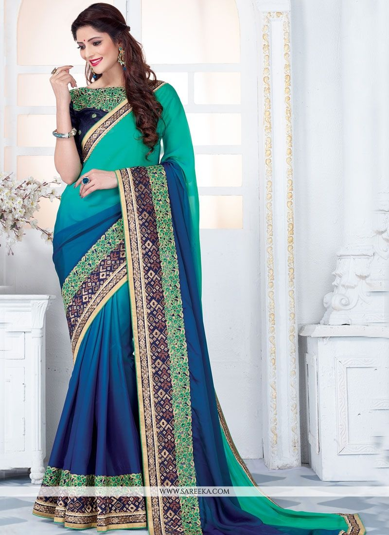 Navy Blue and Sea Green Embroidered Work Half N Half Designer Saree