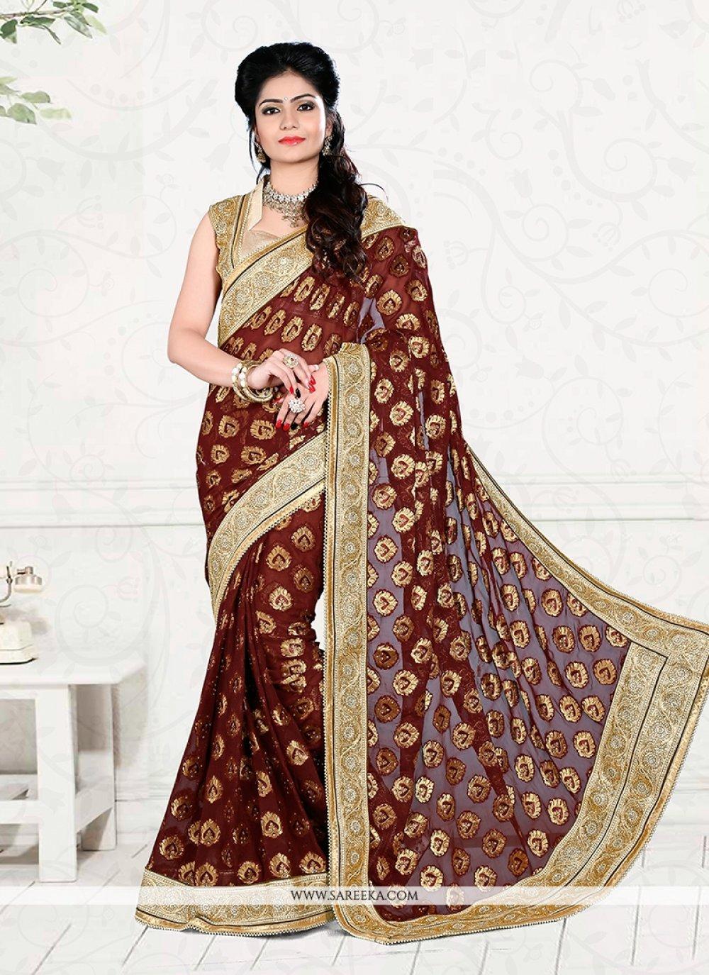 Viscose Brown Classic Designer Saree
