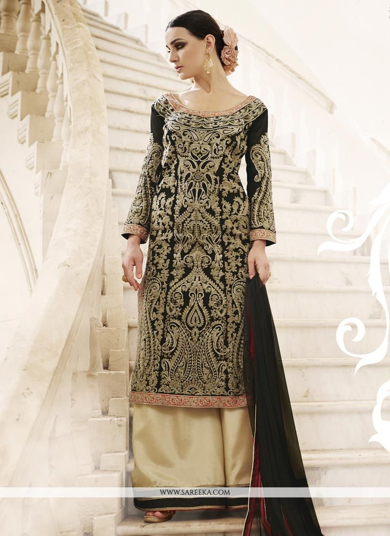 Embroidered Work Faux Georgette Black Designer Palazzo Salwar Kameez